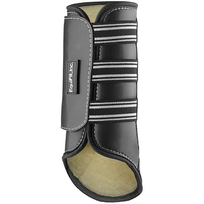 brushing boot for horse black with sheepswool